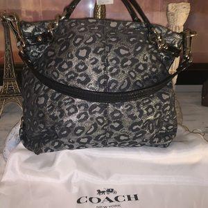Coach metallic animal print hobo bag